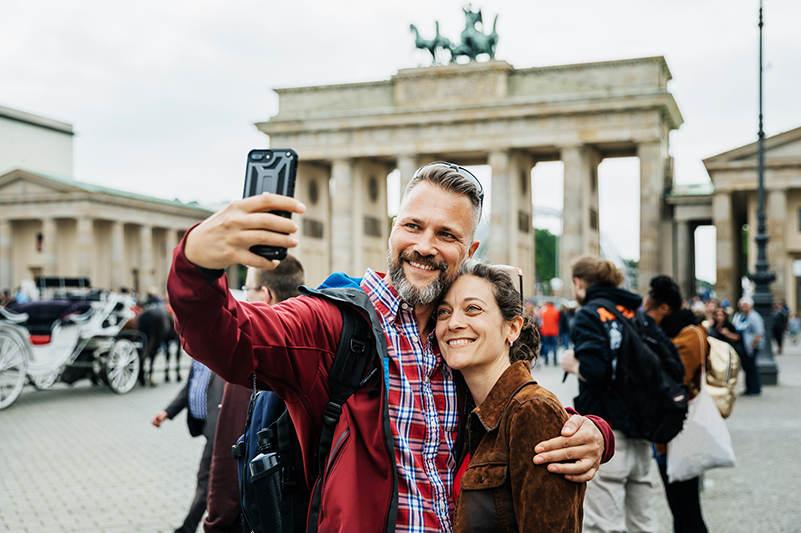 A couple taking a selfie in Berlin