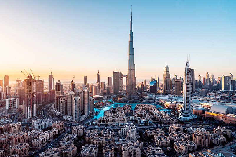 Dubai skyline at sunset