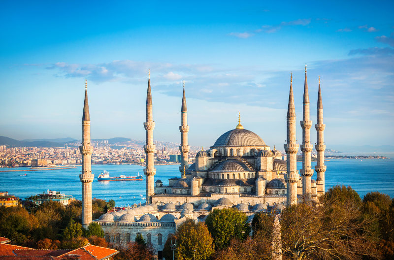 View of the Sultan Ahmet Mosque in Istanbul, Turkey.