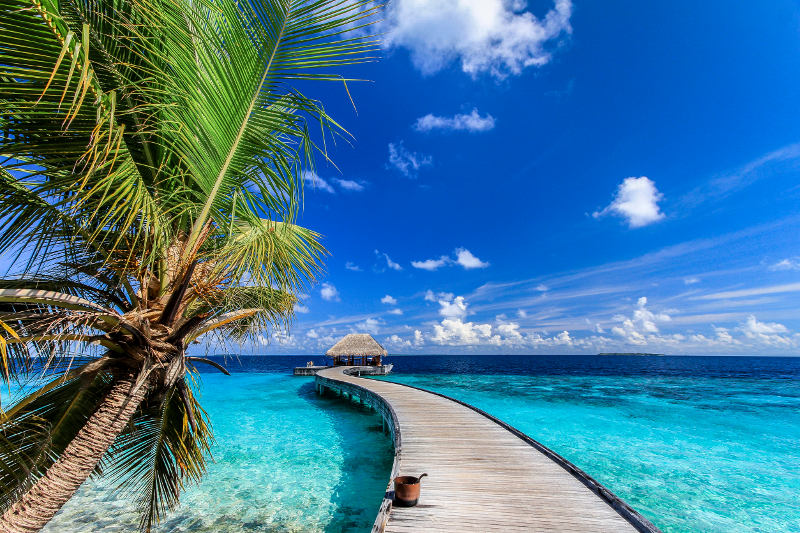 jetty near tropical island in the Maldives