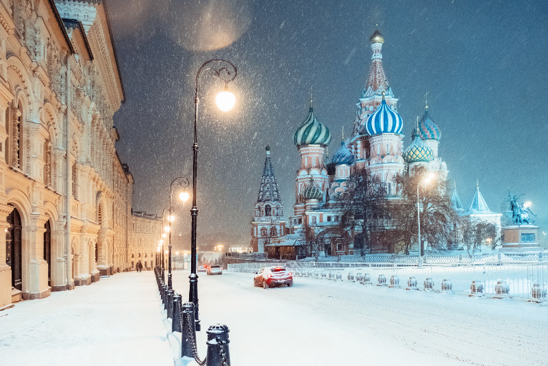St Basil's Cathedral, Moscow, in snow