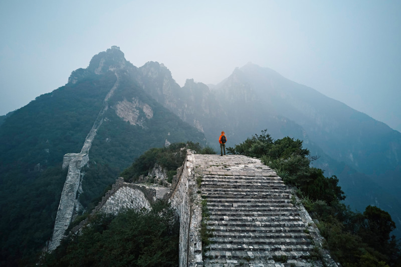 Man standing on the Great Wall of China