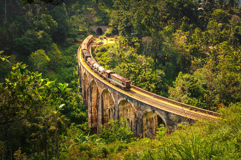 A train crosses the Demodara Nine Arch Bridge in Sri Lanka.