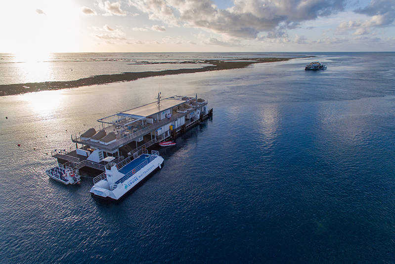 An aerial shot of the Reefworld Pontoon in the Great Barrier Reef.