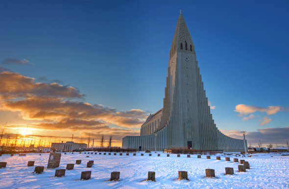 the facade of the hallgrimskirkja church in Iceland