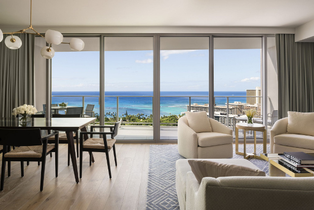 One of the suites overlooking the ocean