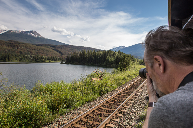 A man taking a photo off the Rocky Mountaineer train