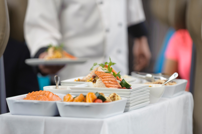 A plate of food being served on Rocky Mountaineer