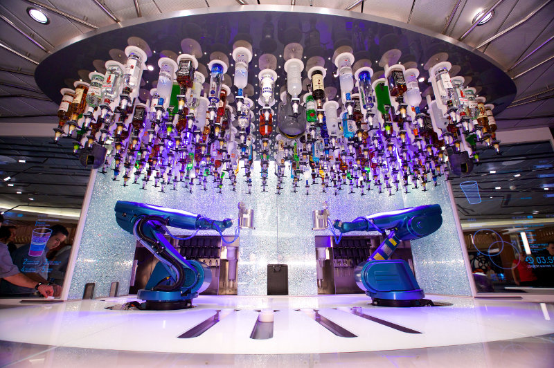 Robot bartenders at the Bionic Bar on board Royal Caribbean cruise ships.