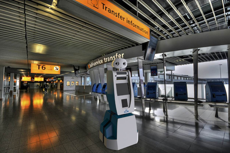 Spencer the information robot at Schiphol Airport in Amsterdam.