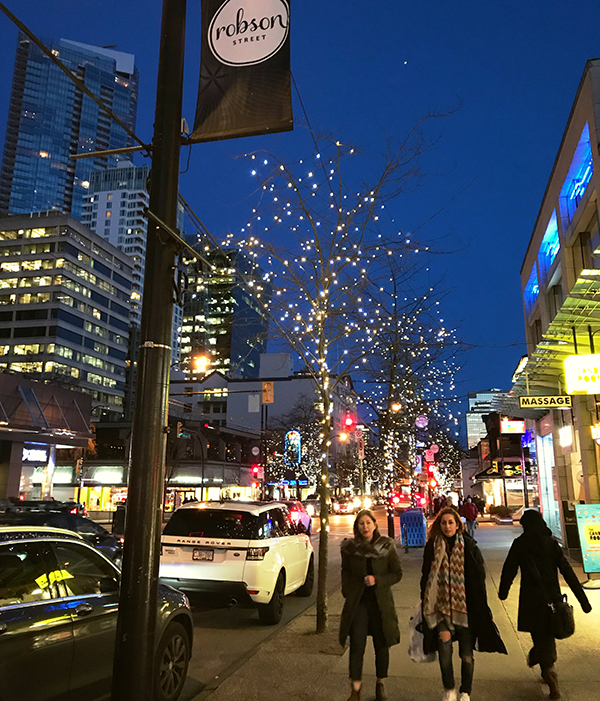 Robson Street, Vancouver by night
