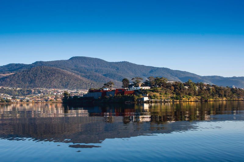 A view across the water of the Museum of Old and New Art (MONA) in Hobart, Tasmania.
