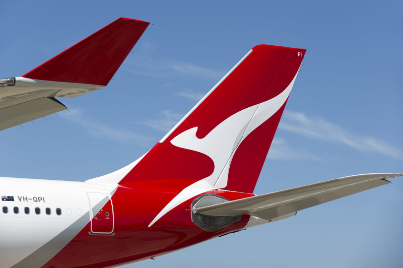 A close-up of the Qantas 'Flying Kangaroo' tail livery.