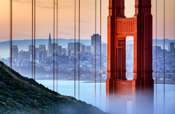 A view of San Francisco with the Golden Gate Bridge in the forefront