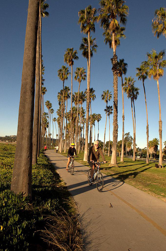Cyclists on the Cabrillo Bike Path in Santa Barbara, California.