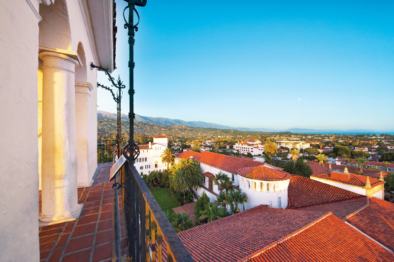 A view over red-tiled rooftops in Santa Barbara.