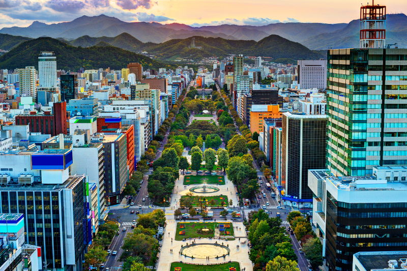 Sapporo city panoramas with rising lush mountains in the background.