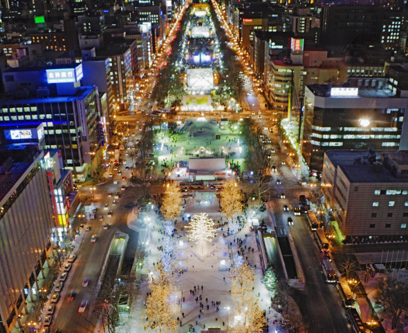 Sapporo aerial shot during snow festival
