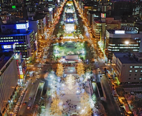 Sapporo aerial shot during snow festival
