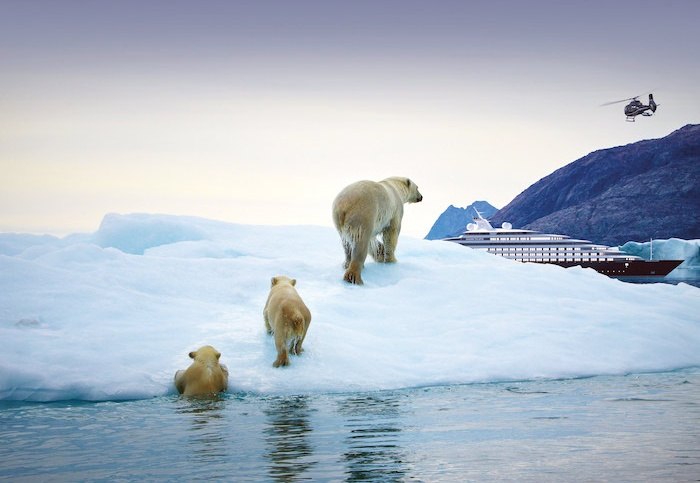 Scenic Eclipse luxury cruise sails through Antarctica with polar bears looking on in the foreground