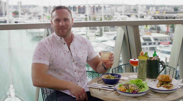 Flight Centre consultant Will enjoying some of Auckland's finest food and drinks at Parasol & Swing Company.