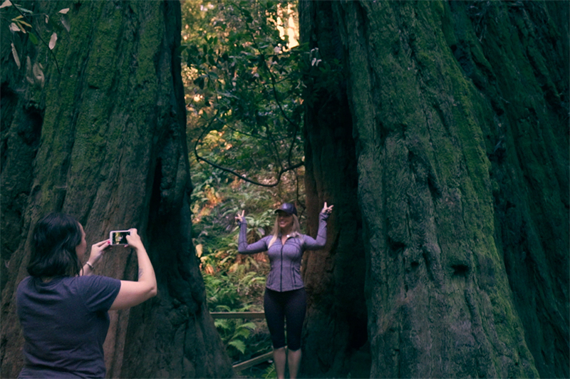 A woman takes a photo of a woman posing against a redwood tree at Muir Woods National Monument in San Francisco.