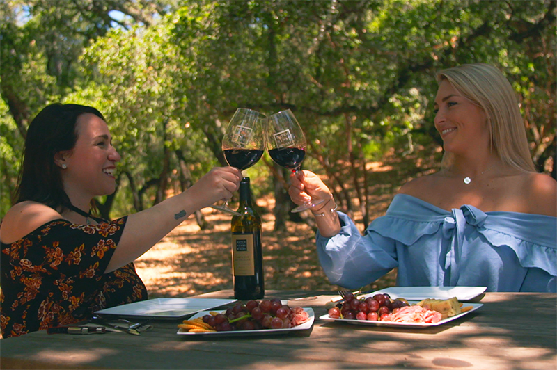 Two women have a picnic with wine in Sonoma County.