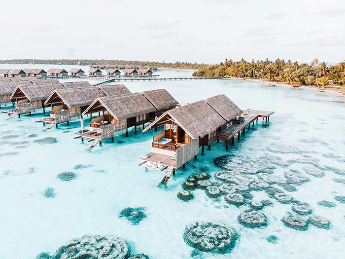 overwater bungalows at Shangri-La's Villingili Resort & Spa, Maldives