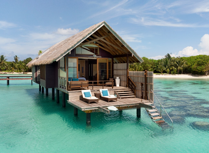 Aerial shot of an overwater villa at Shangri La Maldives