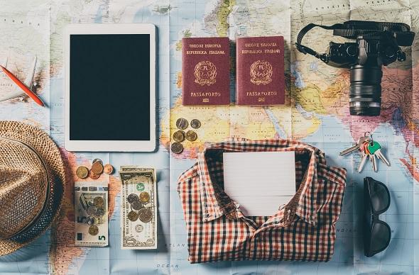 travel flat lay map, passport etc