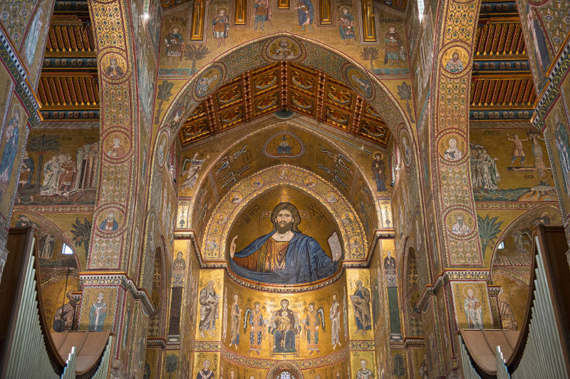 Golden mosaics adorn the interior of the Monreale Cathedral in Sicily.
