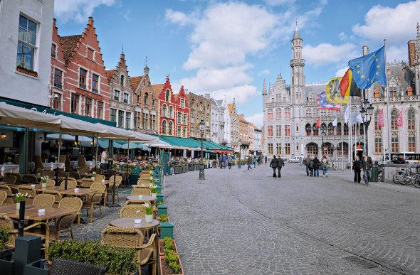 Bruges market square, Belgium.