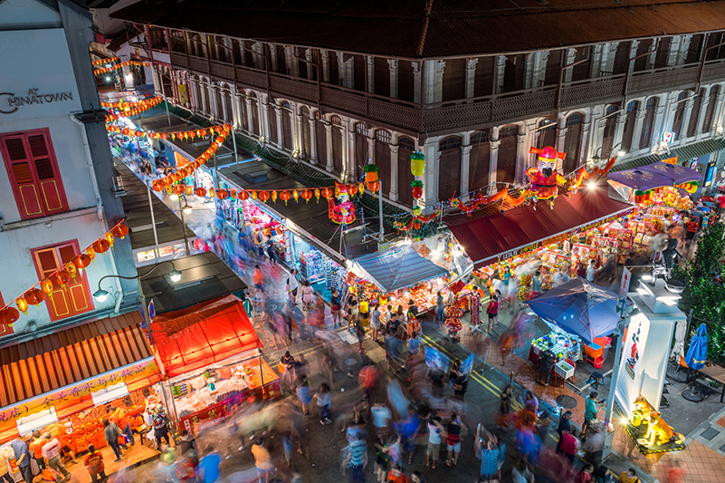 Aerial view of market during Chinese New Year in Singapore
