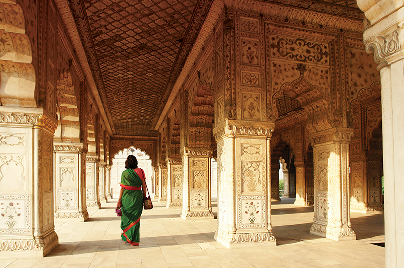 The intricate interior of the Red Fort in Delhi, India
