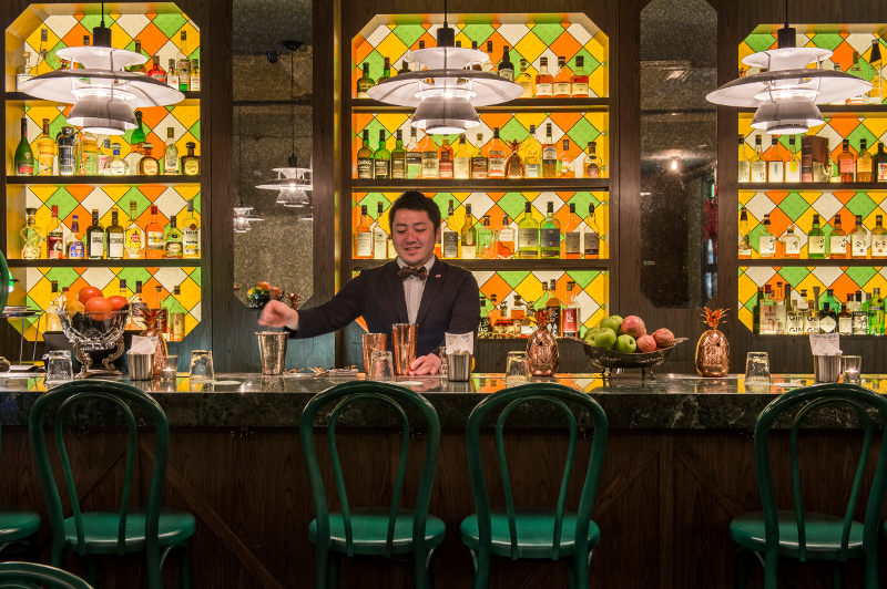A bartender makes a cocktail at Singapore's Gibson bar.