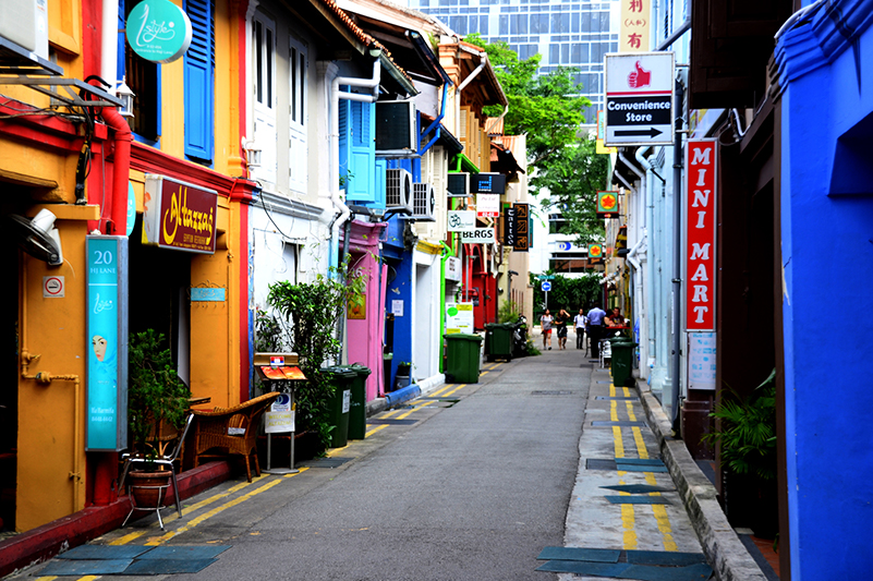 Colourful buildings in Haji Lane, Singapore