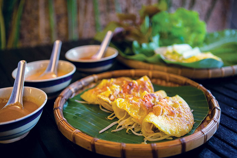 Traditional banh xeo pancakes