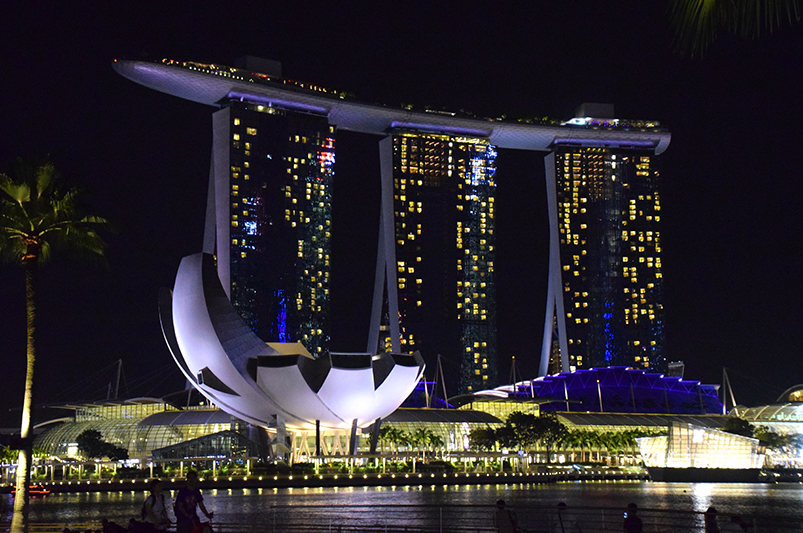 Singapore skyline at night with Marina Bay Sands