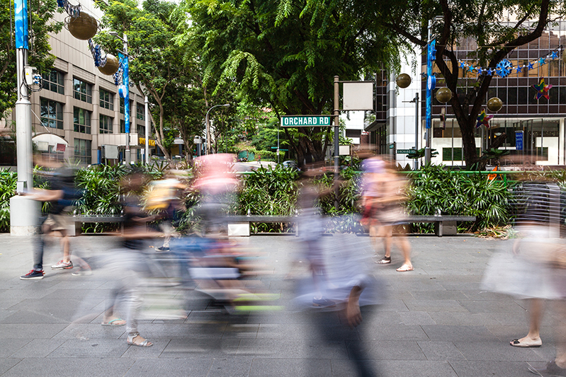 Busy Orchard Road in Singapore