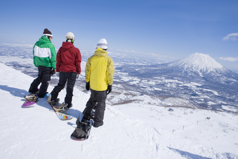 The view from the slopes at Niseko Ski Resort. Mountain in the background