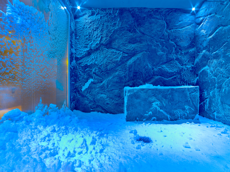 Inside a Snow Grotto, a cold room with ice