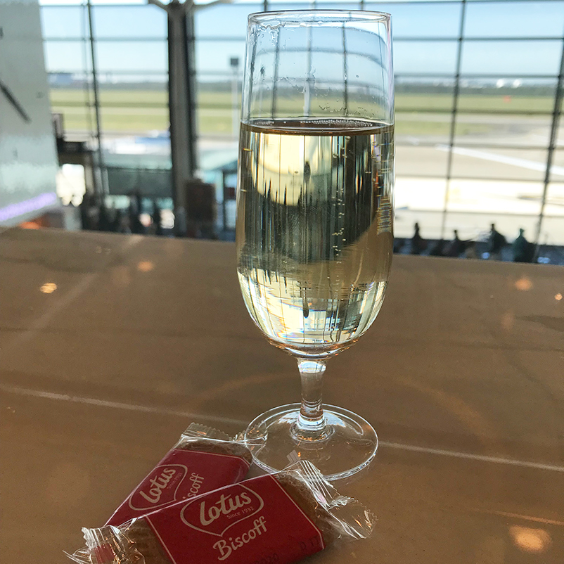 Glass of sparkling at SilverKris Lounge, Brisbane Airport.