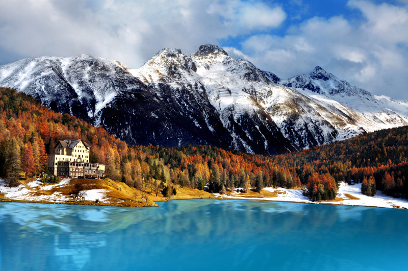 A house on a mountain lake in St Moritz