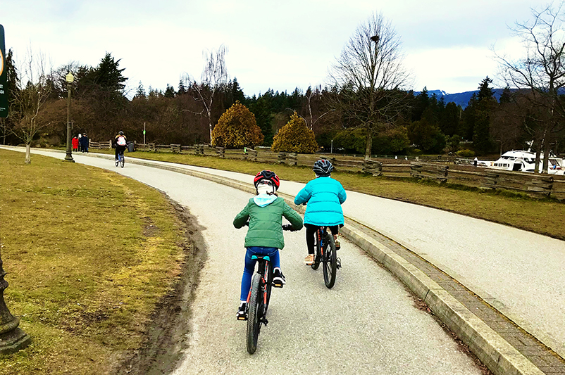 Cyclists at Stanley Park, Vancouver