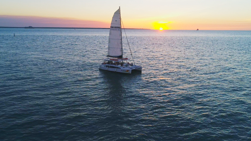sunset cruise darwin from drone