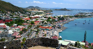 Aerial view over Saint Marten