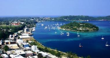 Aerial view over Port Vila