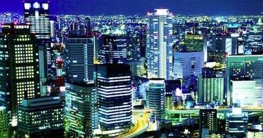 City lights of Osaka