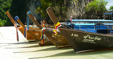 Traditional Thai Long-Tail Boats