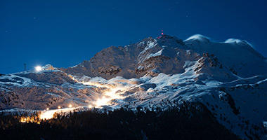 Corvatsch Ski Slope Illuminated at Night